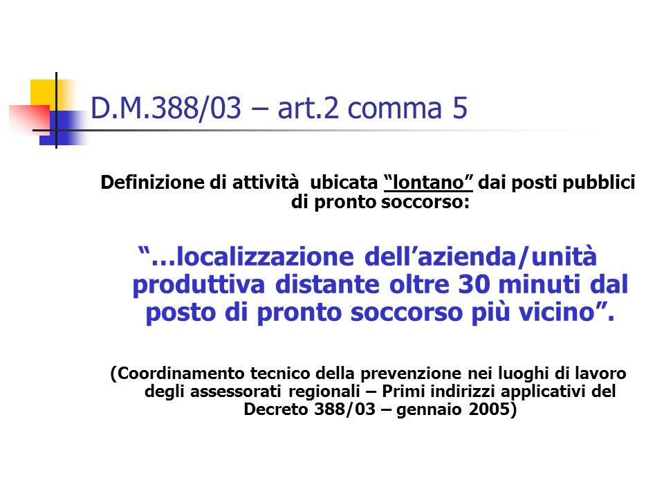 D.M.388/03 – art.2 comma 5 Definizione di attività ubicata lontano dai posti pubblici di pronto soccorso: …localizzazione dellazienda/unità produttiva