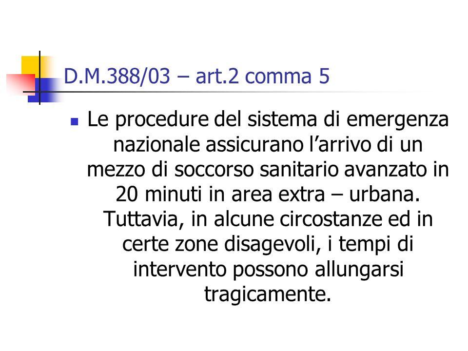 D.M.388/03 – art.2 comma 5 Le procedure del sistema di emergenza nazionale assicurano larrivo di un mezzo di soccorso sanitario avanzato in 20 minuti