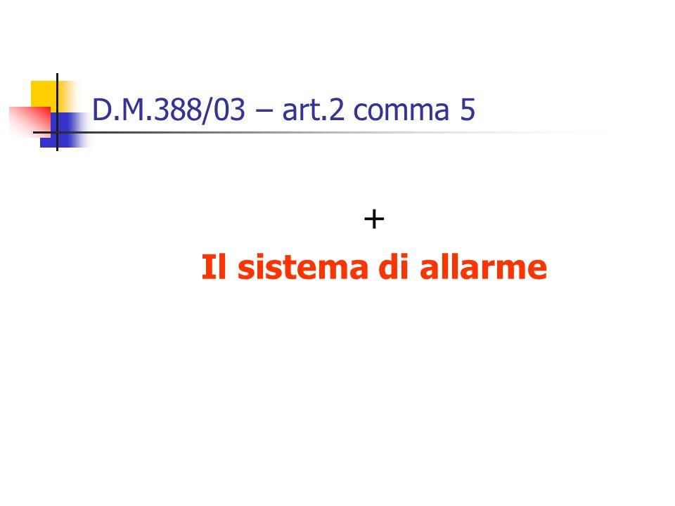 D.M.388/03 – art.2 comma 5 + Il sistema di allarme