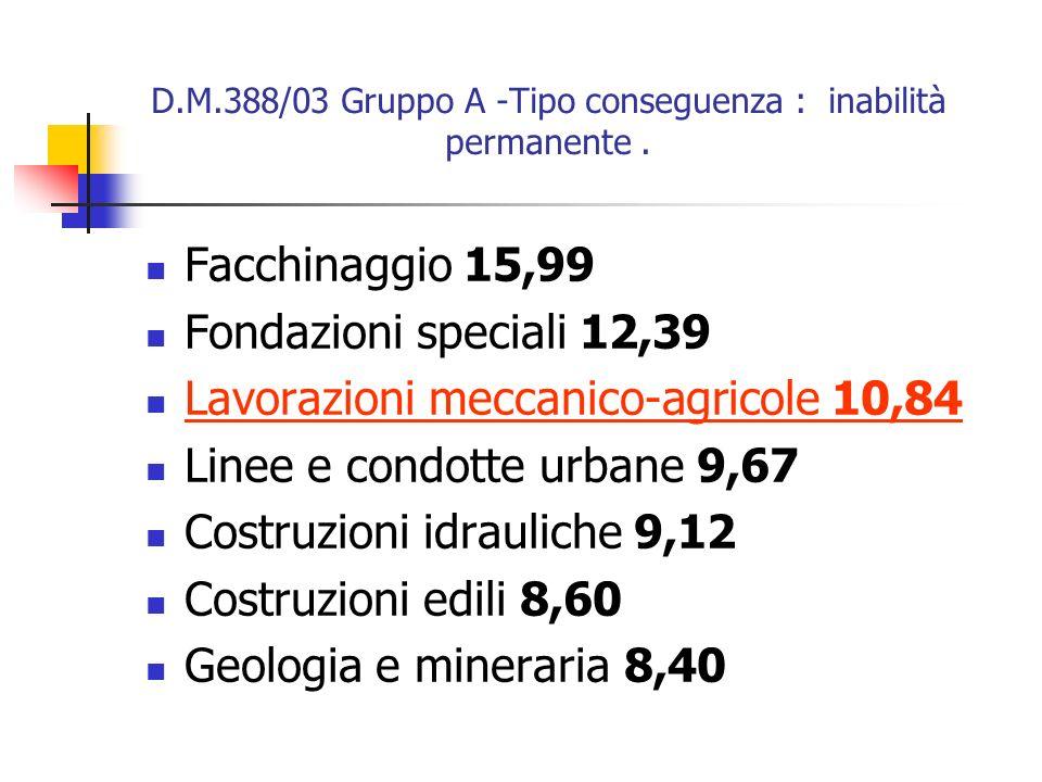 D.M.388/03 Gruppo A -Tipo conseguenza : inabilità permanente. Facchinaggio 15,99 Fondazioni speciali 12,39 Lavorazioni meccanico-agricole 10,84 Linee