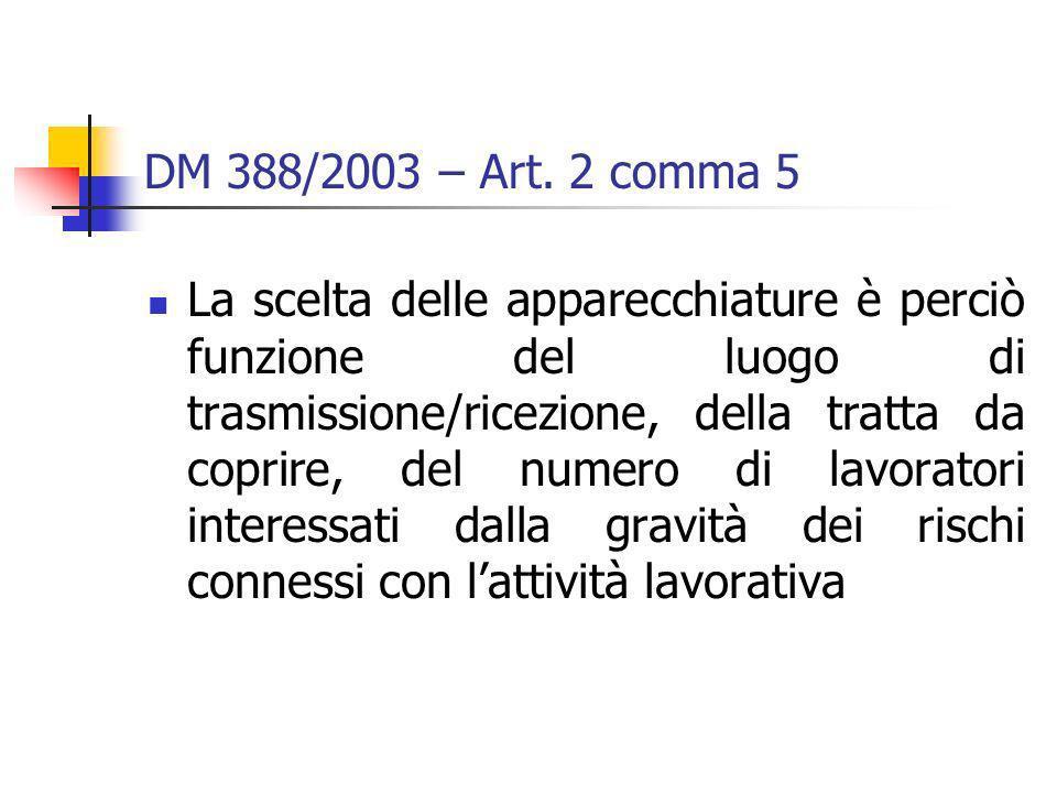 DM 388/2003 – Art. 2 comma 5 La scelta delle apparecchiature è perciò funzione del luogo di trasmissione/ricezione, della tratta da coprire, del numer