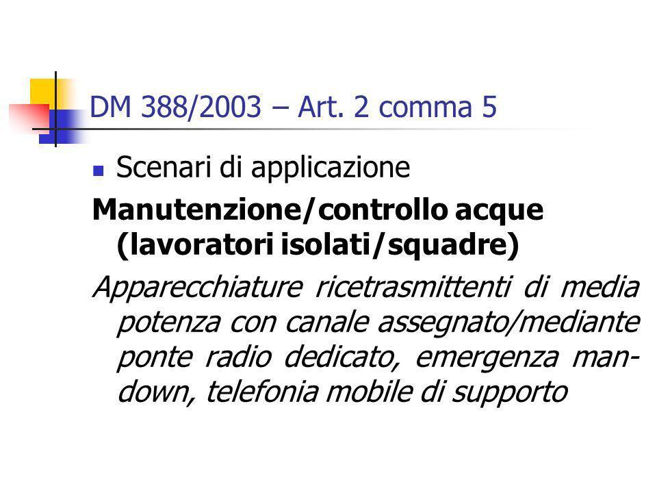 DM 388/2003 – Art. 2 comma 5 Scenari di applicazione Manutenzione/controllo acque (lavoratori isolati/squadre) Apparecchiature ricetrasmittenti di med