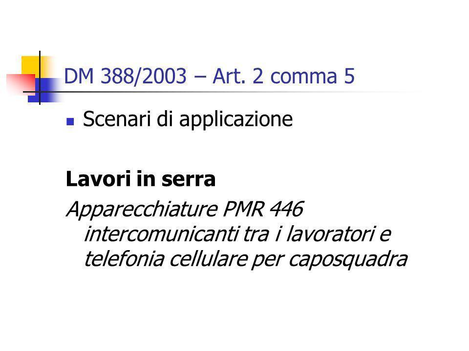 DM 388/2003 – Art. 2 comma 5 Scenari di applicazione Lavori in serra Apparecchiature PMR 446 intercomunicanti tra i lavoratori e telefonia cellulare p