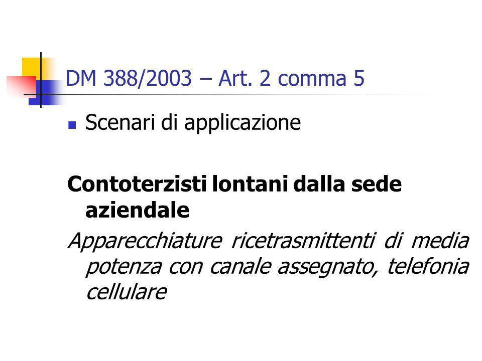DM 388/2003 – Art. 2 comma 5 Scenari di applicazione Contoterzisti lontani dalla sede aziendale Apparecchiature ricetrasmittenti di media potenza con