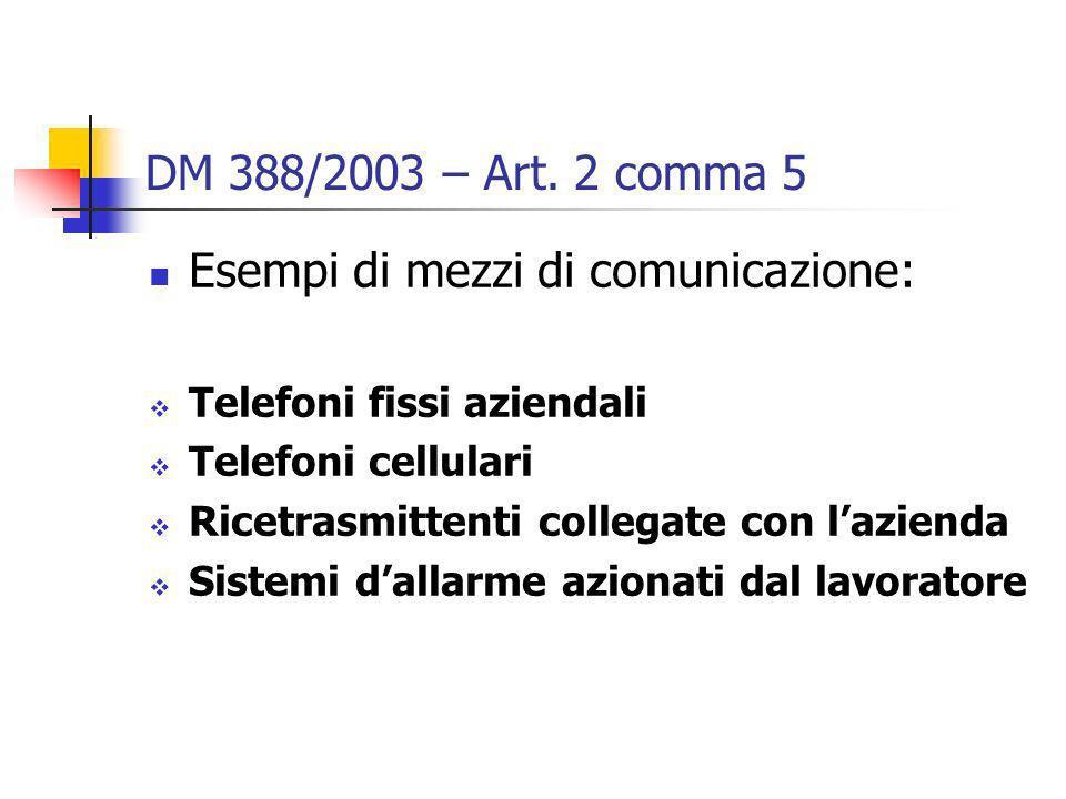 DM 388/2003 – Art. 2 comma 5 Esempi di mezzi di comunicazione: Telefoni fissi aziendali Telefoni cellulari Ricetrasmittenti collegate con lazienda Sis