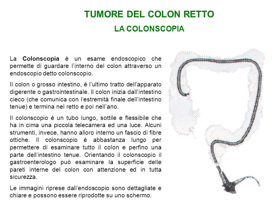 TUMORE DEL COLON RETTO LA COLONSCOPIA La Colonscopia è un esame endoscopico che permette di guardare linterno del colon attraverso un endoscopio detto