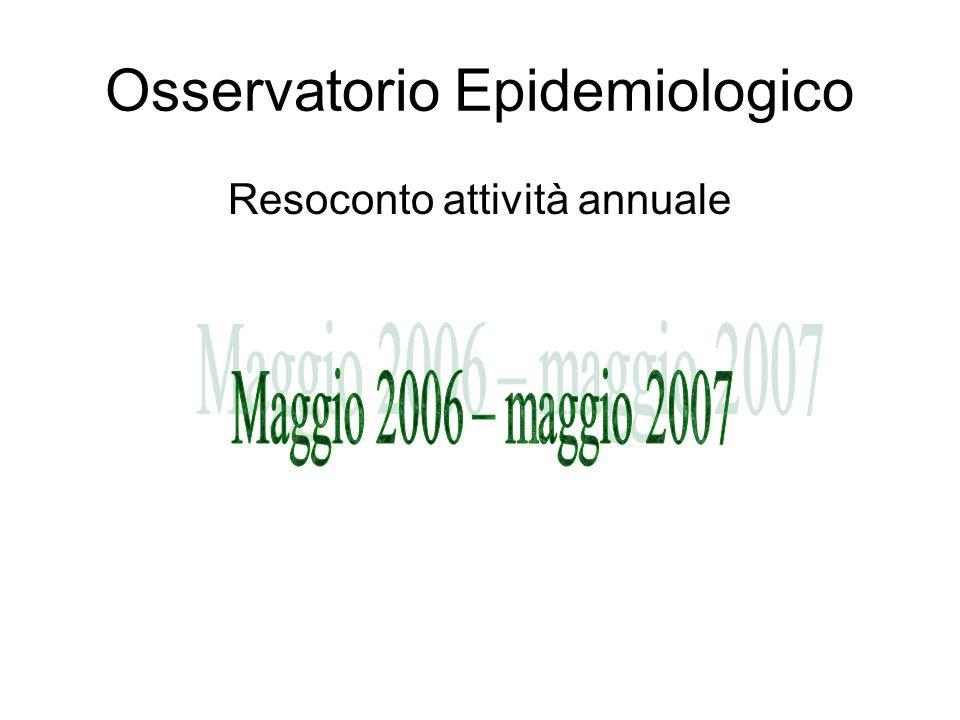 Osservatorio Epidemiologico Resoconto attività annuale