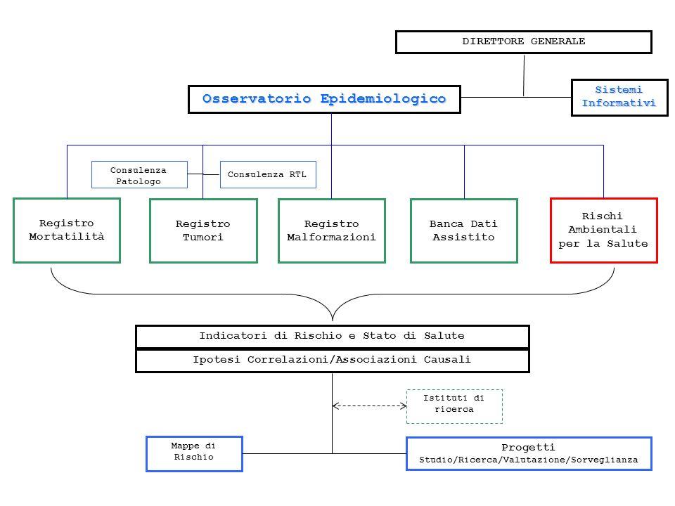 Osservatorio Epidemiologico Registro Tumori Registro Malformazioni Banca Dati Assistito Rischi Ambientali per la Salute Registro Mortatilità DIRETTORE GENERALE Consulenza Patologo Indicatori di Rischio e Stato di Salute Ipotesi Correlazioni/Associazioni Causali Mappe di Rischio Progetti Studio/Ricerca/Valutazione/Sorveglianza Istituti di ricerca Sistemi Informativi Consulenza RTL