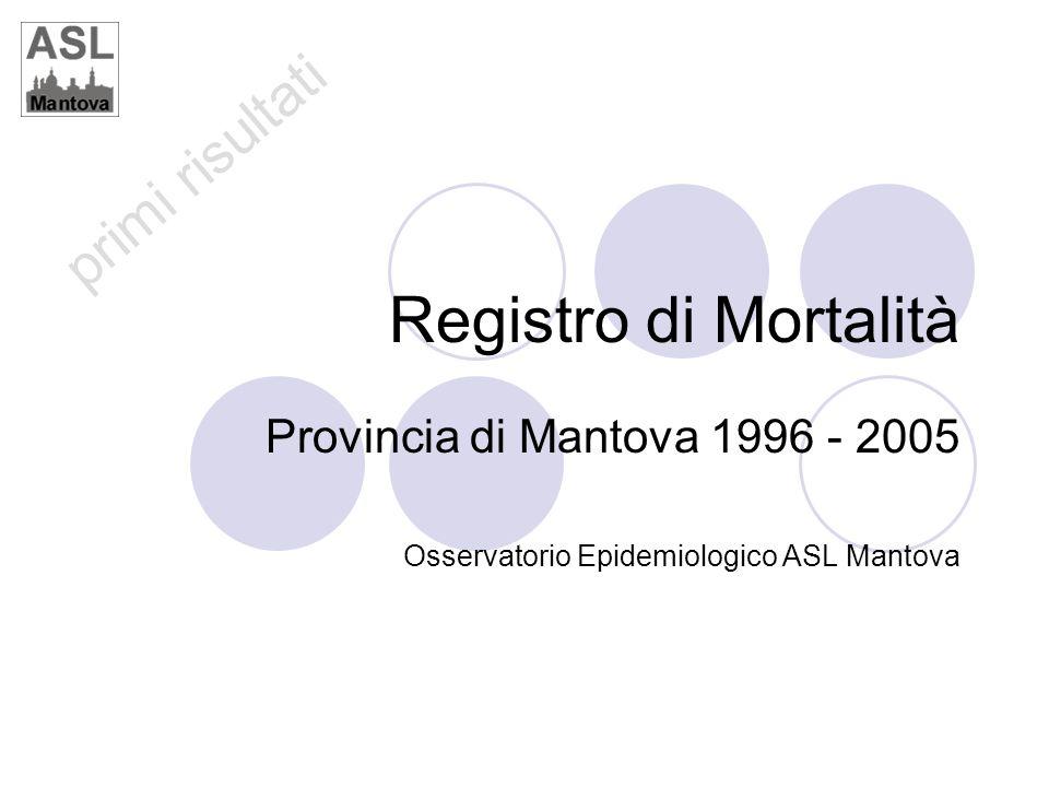 primi risultati Registro di Mortalità Provincia di Mantova 1996 - 2005 Osservatorio Epidemiologico ASL Mantova