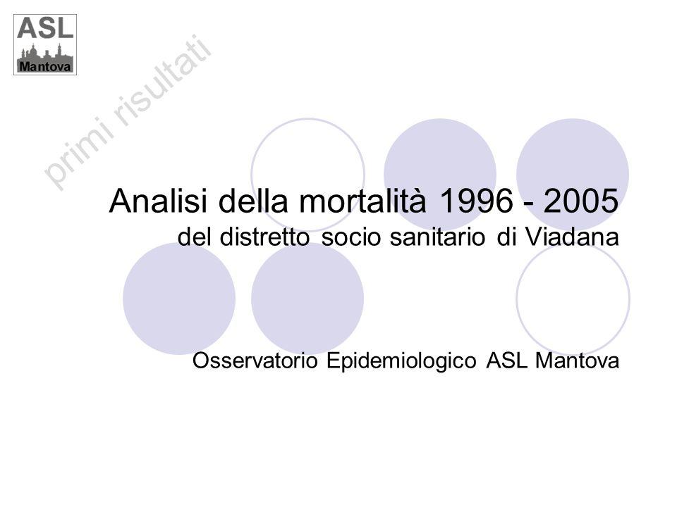 primi risultati Analisi della mortalità 1996 - 2005 del distretto socio sanitario di Viadana Osservatorio Epidemiologico ASL Mantova