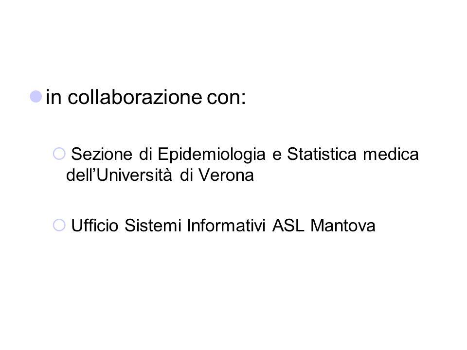 in collaborazione con: Sezione di Epidemiologia e Statistica medica dellUniversità di Verona Ufficio Sistemi Informativi ASL Mantova