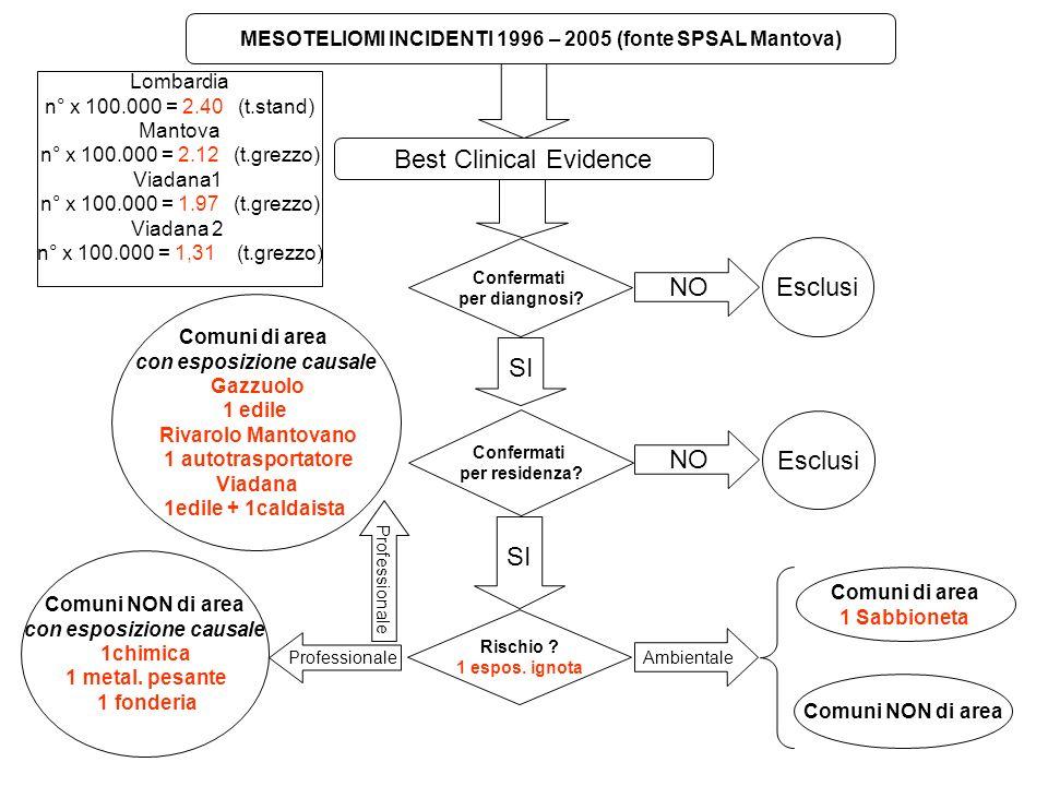 MESOTELIOMI INCIDENTI 1996 – 2005 (fonte SPSAL Mantova) Best Clinical Evidence Confermati per diangnosi? NO Esclusi Confermati per residenza? SI NO Es