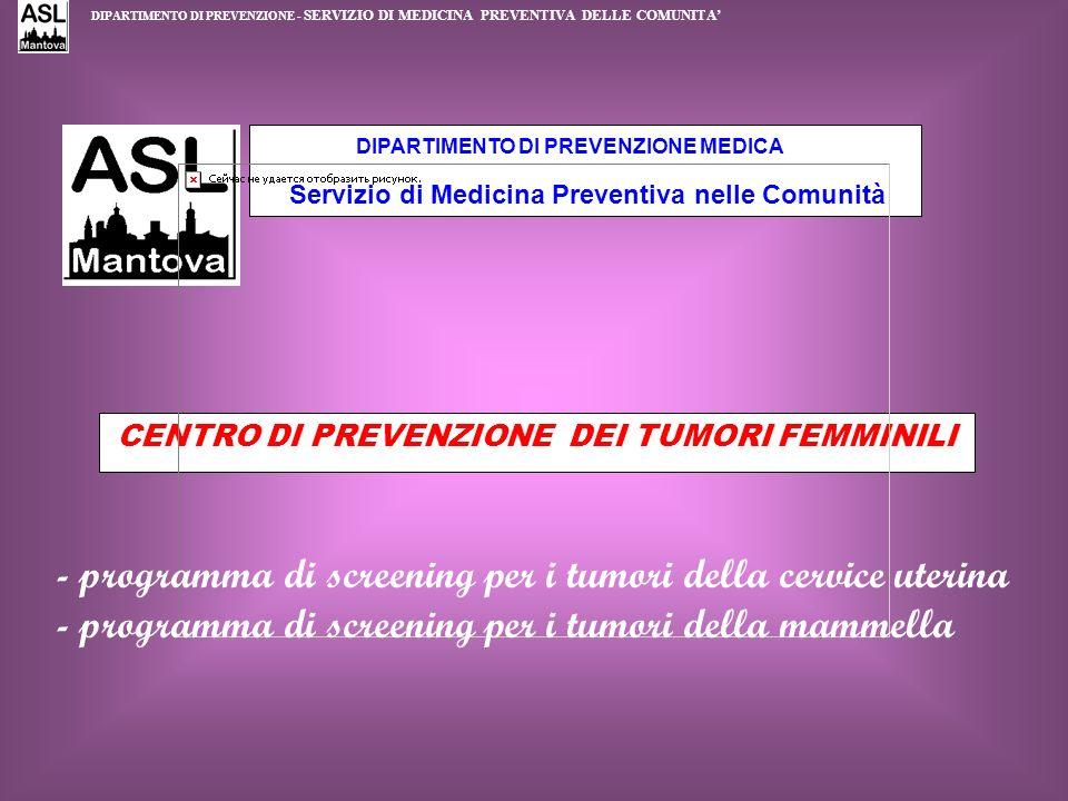 DIPARTIMENTO DI PREVENZIONE MEDICA Servizio di Medicina Preventiva nelle Comunità CENTRO DI PREVENZIONE DEI TUMORI FEMMINILI - programma di screening