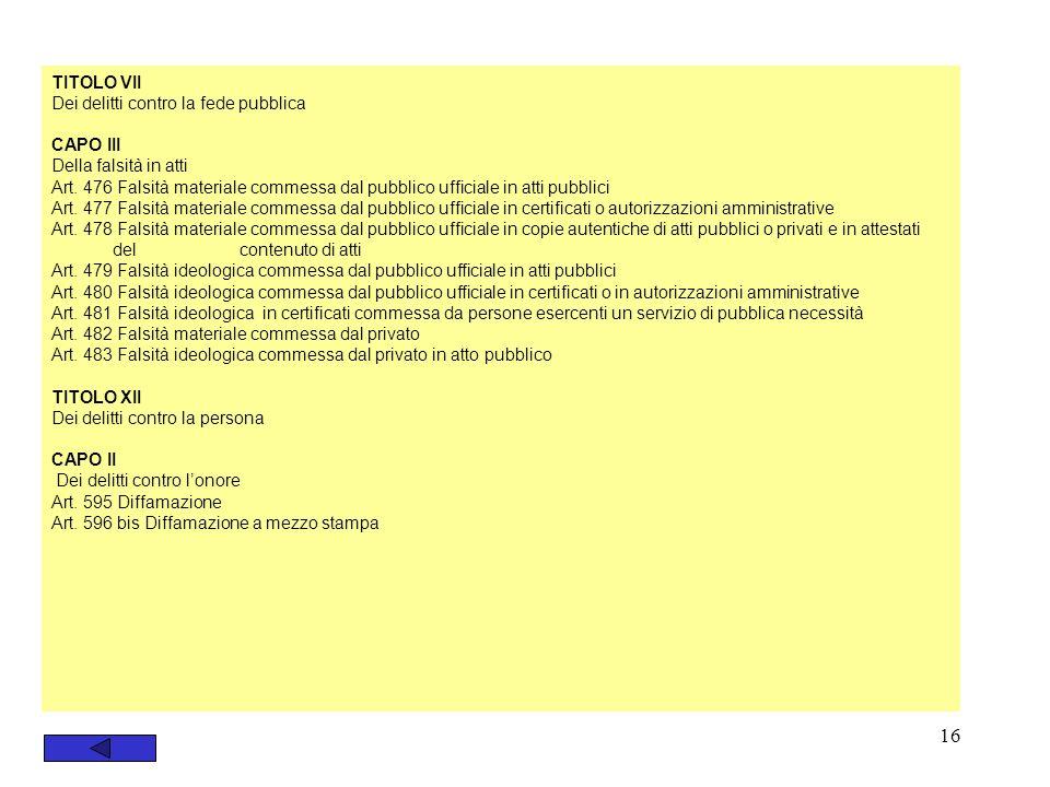 16 TITOLO VII Dei delitti contro la fede pubblica CAPO III Della falsità in atti Art. 476 Falsità materiale commessa dal pubblico ufficiale in atti pu