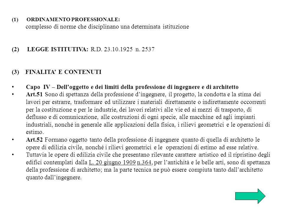 (1) ORDINAMENTO PROFESSIONALE: complesso di norme che disciplinano una determinata istituzione (2) LEGGE ISTITUTIVA: R.D. 23.10.1925 n. 2537 (3) FINAL