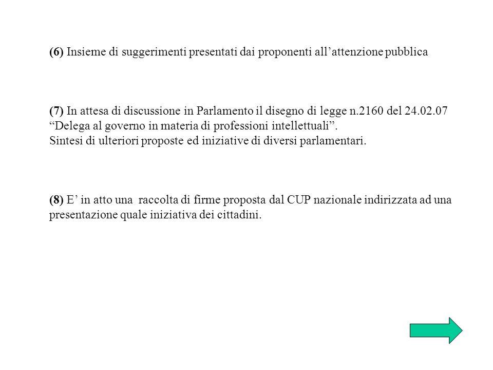 (6) Insieme di suggerimenti presentati dai proponenti allattenzione pubblica (7) In attesa di discussione in Parlamento il disegno di legge n.2160 del