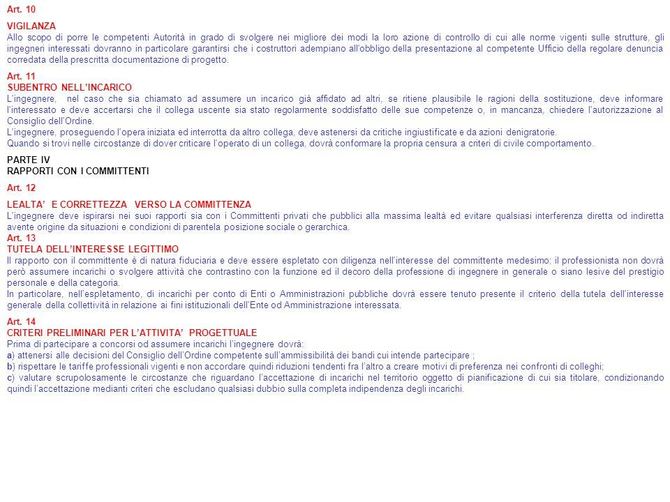Art. 10 VIGILANZA Allo scopo di porre le competenti Autorità in grado di svolgere nei migliore dei modi la loro azione di controllo di cui alle norme