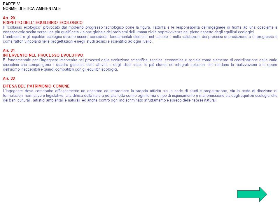 PARTE V NORME DI ETICA AMBIENTALE Art. 20 RISPETTO DELL EQUILIBRIO ECOLOGICO Il