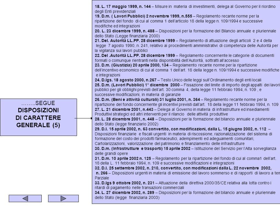 ……..SEGUE DISPOSIZIONI DI CARATTERE GENERALE (5) 18. L. 17 maggio 1999, n. 144 – Misure in materia di investimenti, delega al Governo per il riordino