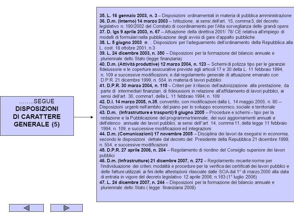 ……..SEGUE DISPOSIZIONI DI CARATTERE GENERALE (5) 35. L. 16 gennaio 2003, n. 3 – Disposizioni ordinamentali in materia di pubblica amministrazione 36.