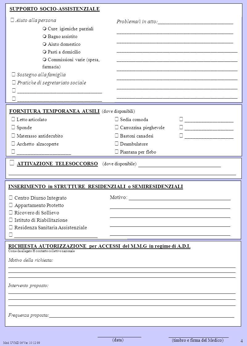 (data) (timbro e firma del Medico) Mod. UVMD 06 Ver. 10/12/99 RICHIESTA AUTORIZZAZIONE per ACCESSI del M.M.G in regime di A.D.I. Come da allegato H co