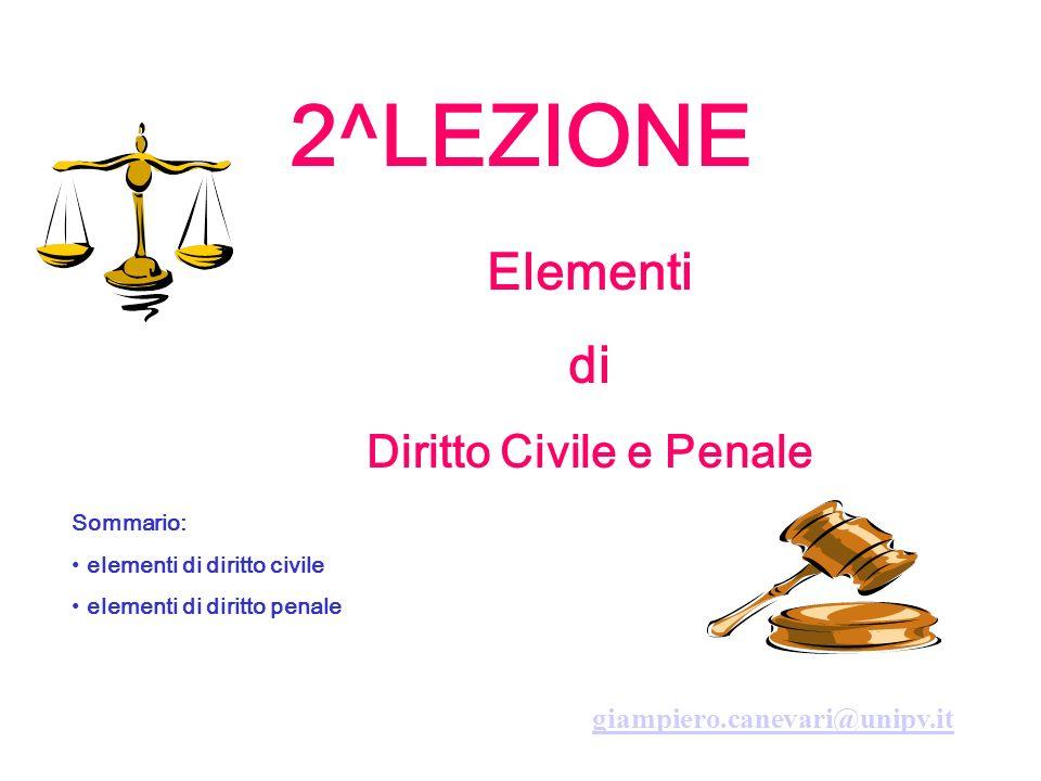 2^LEZIONE Elementi di Diritto Civile e Penale Sommario: elementi di diritto civile elementi di diritto penale giampiero.canevari@unipv.it