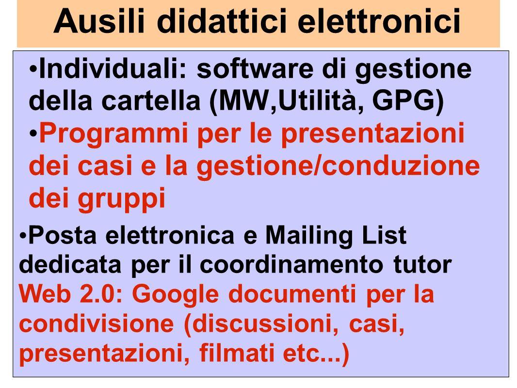 Ausili didattici elettronici Individuali: software di gestione della cartella (MW,Utilità, GPG) Programmi per le presentazioni dei casi e la gestione/