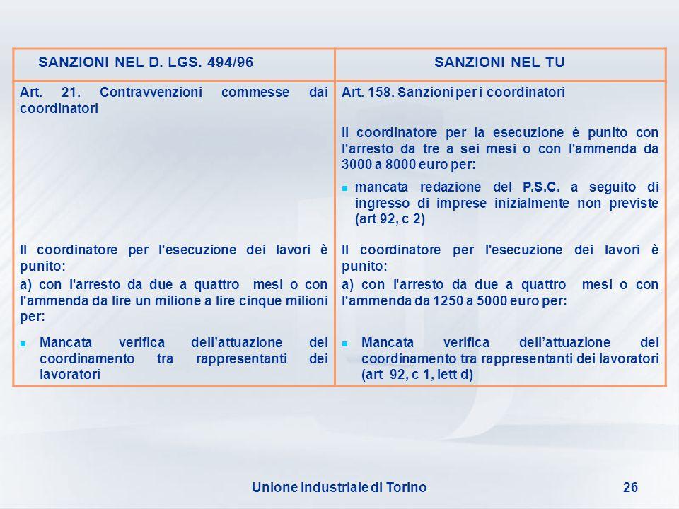 Unione Industriale di Torino26 SANZIONI NEL D. LGS. 494/96SANZIONI NEL TU Art. 21. Contravvenzioni commesse dai coordinatori Art. 158. Sanzioni per i