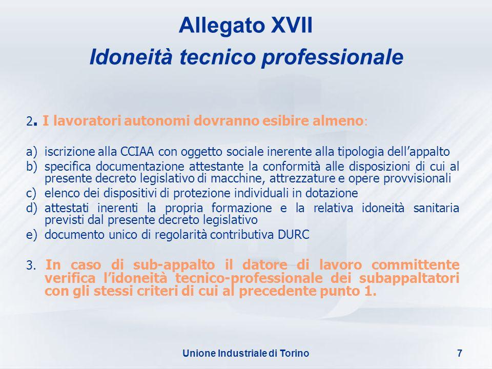 Unione Industriale di Torino7 Allegato XVII Idoneità tecnico professionale 2. I lavoratori autonomi dovranno esibire almeno : a)iscrizione alla CCIAA