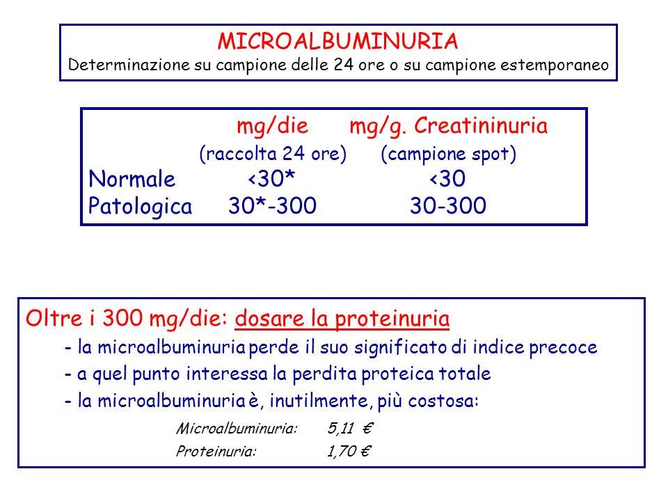 mg/diemg/g. Creatininuria (raccolta 24 ore)(campione spot) Normale<30*<30 Patologica30*-30030-300 Oltre i 300 mg/die: dosare la proteinuria - la micro