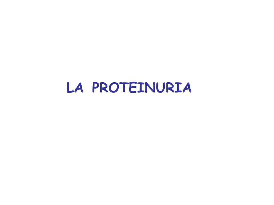 LA PROTEINURIA
