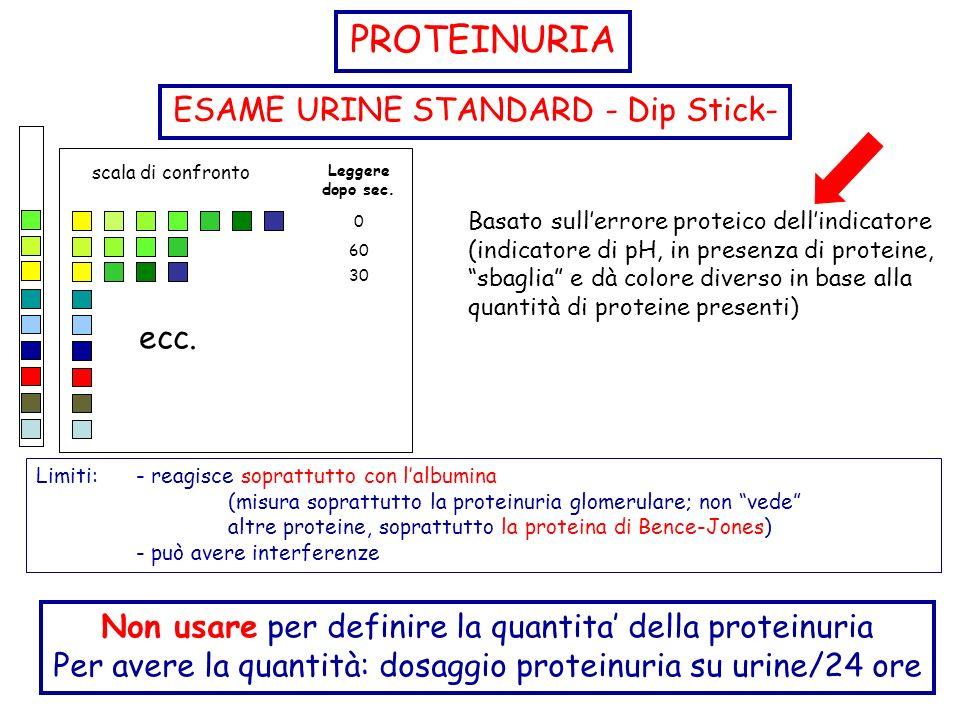 ESAME URINE STANDARD - Dip Stick- ecc. scala di confronto Leggere dopo sec. 0 30 60 Limiti: - reagisce soprattutto con lalbumina (misura soprattutto l