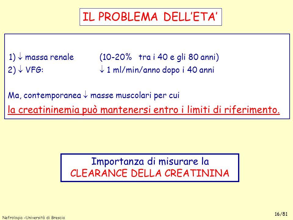 Nefrologia –Università di Brescia 16/81 1) massa renale (10-20% tra i 40 e gli 80 anni) 2) VFG: 1 ml/min/anno dopo i 40 anni Ma, contemporanea masse m