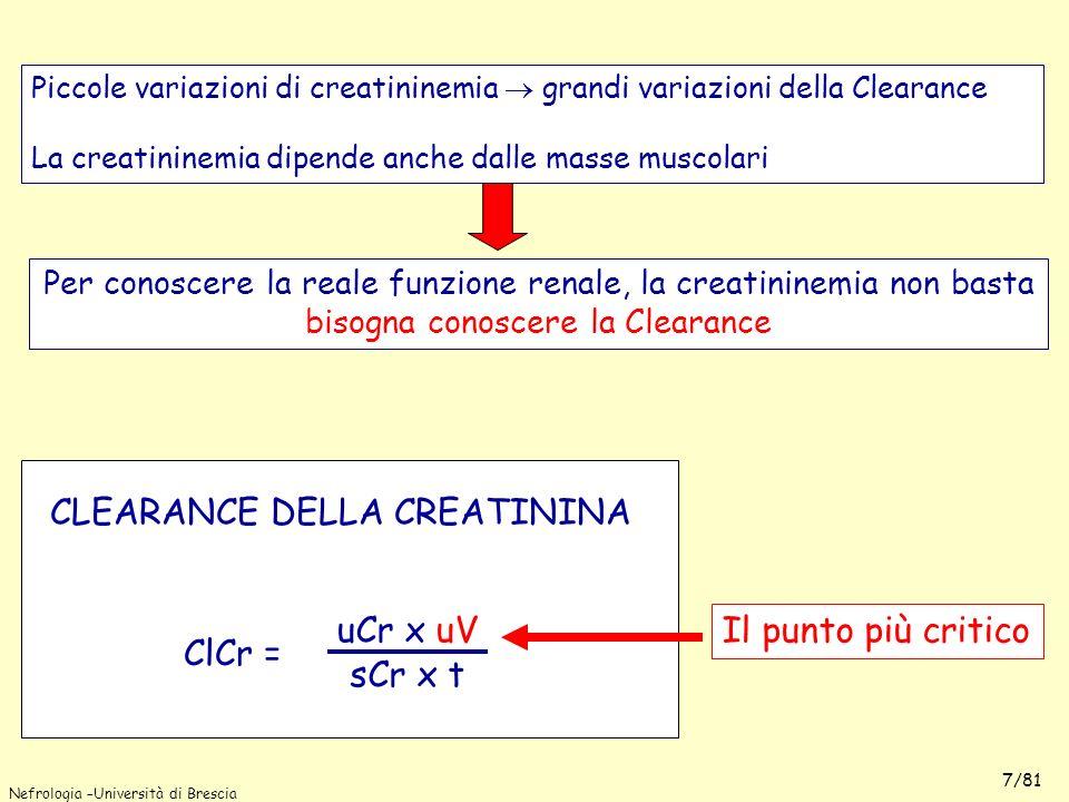 Nefrologia –Università di Brescia 7/81 Piccole variazioni di creatininemia grandi variazioni della Clearance La creatininemia dipende anche dalle mass