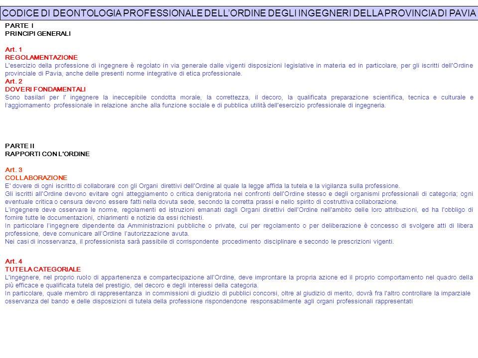 PARTE I PRINCIPI GENERALI Art. 1 REGOLAMENTAZIONE L'esercizio della professione di ingegnere è regolato in via generale dalle vigenti disposizioni leg