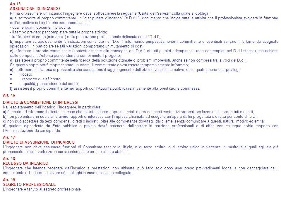 Art.15 ASSUNZIONE DI INCARICO Prima di assumere un incarico l'ingegnere deve sottoscrivere la seguente Carta dei Servizi colla quale si obbliga: a) a