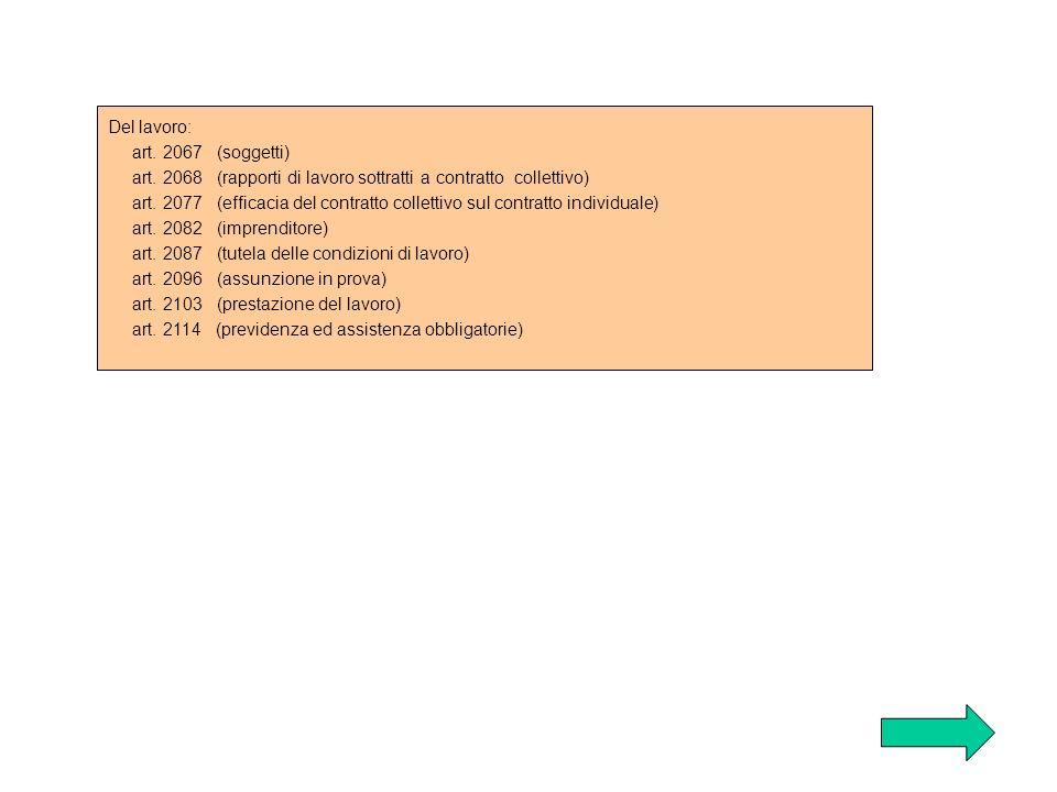Del lavoro: art. 2067 (soggetti) art. 2068 (rapporti di lavoro sottratti a contratto collettivo) art. 2077 (efficacia del contratto collettivo sul con