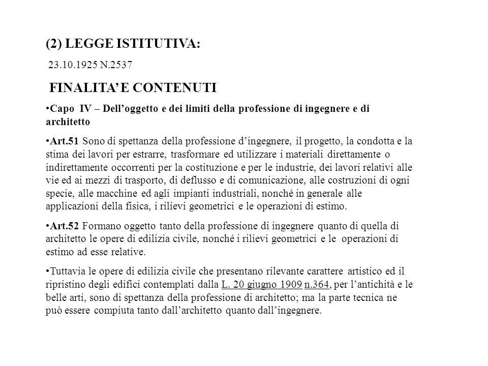 (2) LEGGE ISTITUTIVA: 23.10.1925 N.2537 FINALITA E CONTENUTI Capo IV – Delloggetto e dei limiti della professione di ingegnere e di architetto Art.51