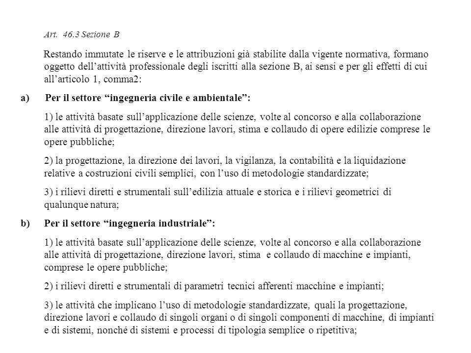 Art. 46.3 Sezione B Restando immutate le riserve e le attribuzioni già stabilite dalla vigente normativa, formano oggetto dellattività professionale d