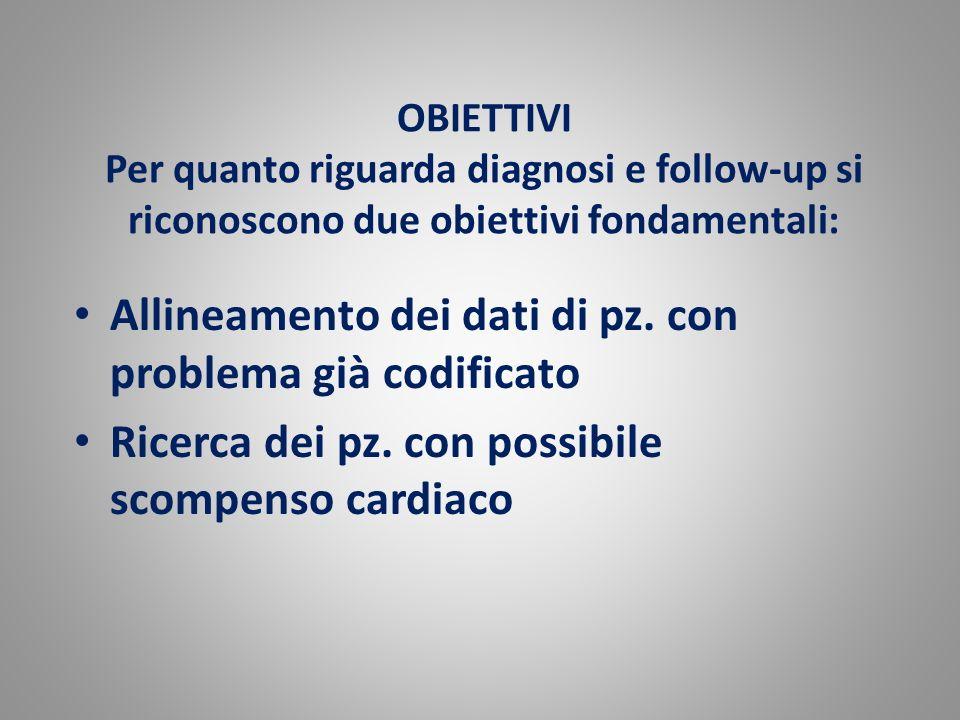 OBIETTIVI Per quanto riguarda diagnosi e follow-up si riconoscono due obiettivi fondamentali: Allineamento dei dati di pz. con problema già codificato