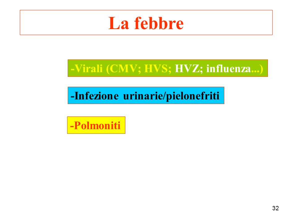 La febbre -Infezione urinarie/pielonefriti -Polmoniti -Virali (CMV; HVS; HVZ; influenza...) 32