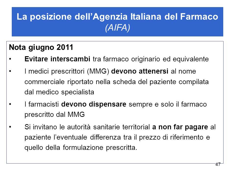 La posizione dellAgenzia Italiana del Farmaco (AIFA) Nota giugno 2011 Evitare interscambi tra farmaco originario ed equivalente I medici prescrittori