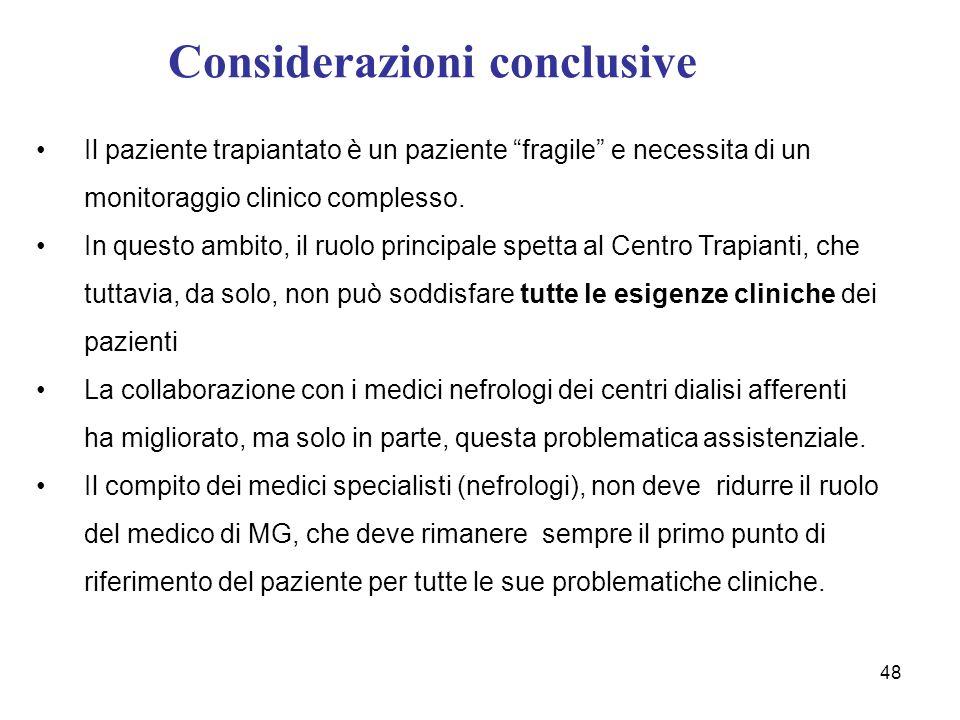 Considerazioni conclusive 48 Il paziente trapiantato è un paziente fragile e necessita di un monitoraggio clinico complesso. In questo ambito, il ruol