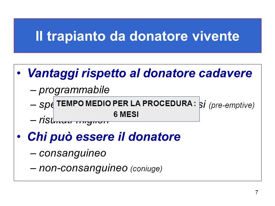 7 Il trapianto da donatore vivente Vantaggi rispetto al donatore cadavere –programmabile –spesso effettuato prima della dialisi (pre-emptive) –risulta