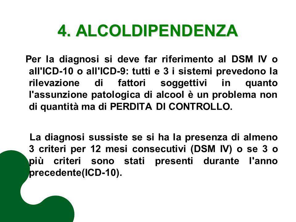 4. ALCOLDIPENDENZA Per la diagnosi si deve far riferimento al DSM IV o all'ICD-10 o all'ICD-9: tutti e 3 i sistemi prevedono la rilevazione di fattori