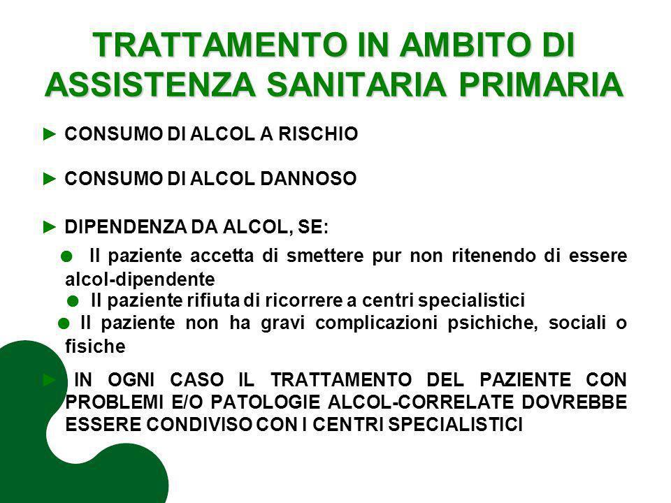TRATTAMENTO IN AMBITO DI ASSISTENZA SANITARIA PRIMARIA CONSUMO DI ALCOL A RISCHIO CONSUMO DI ALCOL DANNOSO DIPENDENZA DA ALCOL, SE: Il paziente accett