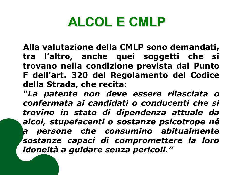 ALCOL E CMLP Alla valutazione della CMLP sono demandati, tra laltro, anche quei soggetti che si trovano nella condizione prevista dal Punto F dellart.