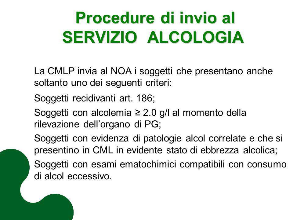 Procedure di invio al SERVIZIO ALCOLOGIA Procedure di invio al SERVIZIO ALCOLOGIA La CMLP invia al NOA i soggetti che presentano anche soltanto uno de