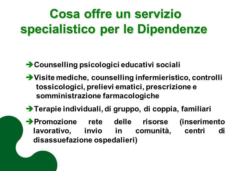 Cosa offre un servizio specialistico per le Dipendenze Cosa offre un servizio specialistico per le Dipendenze Counselling psicologici educativi social