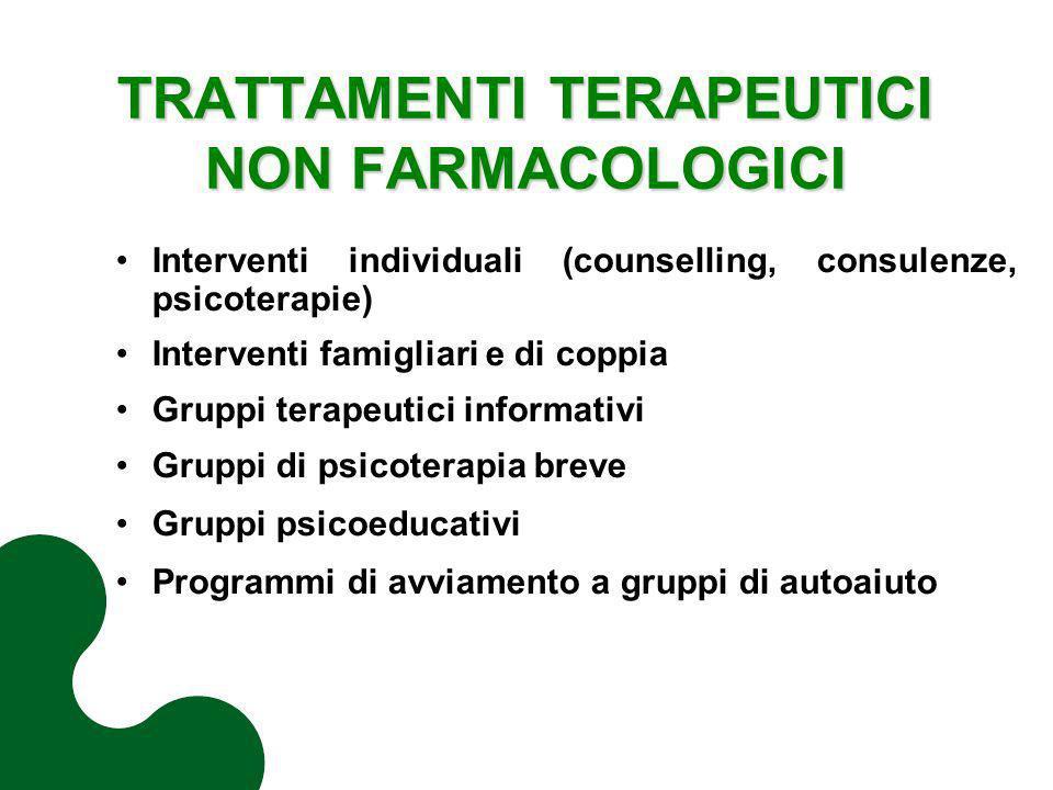 TRATTAMENTI TERAPEUTICI NON FARMACOLOGICI Interventi individuali (counselling, consulenze, psicoterapie) Interventi famigliari e di coppia Gruppi tera